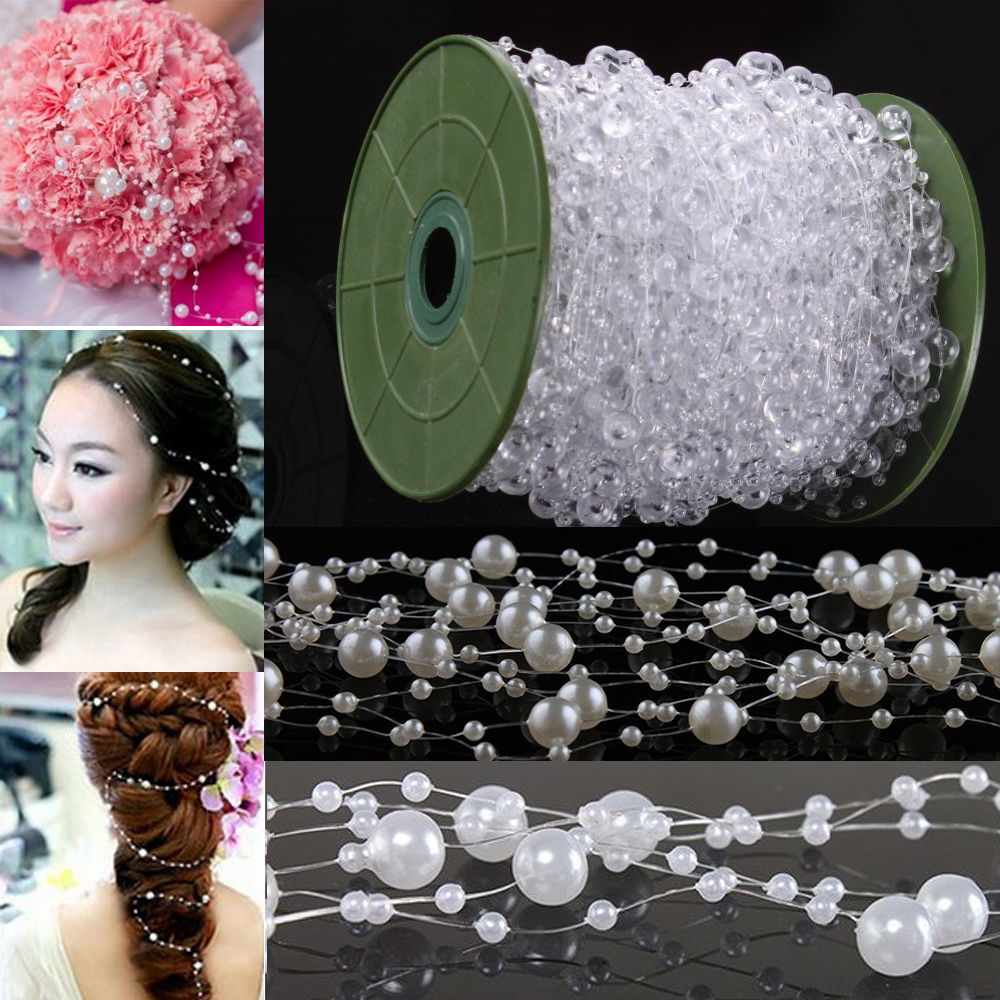 60M/Roll Clear Pearl String Party Garland Wedding Centerpieces Bridal Bouquet Crafts Decoration