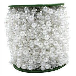 60M/Roll White Pearl String Party Garland Wedding Centerpieces Bridal Bouquet Crafts Decoration