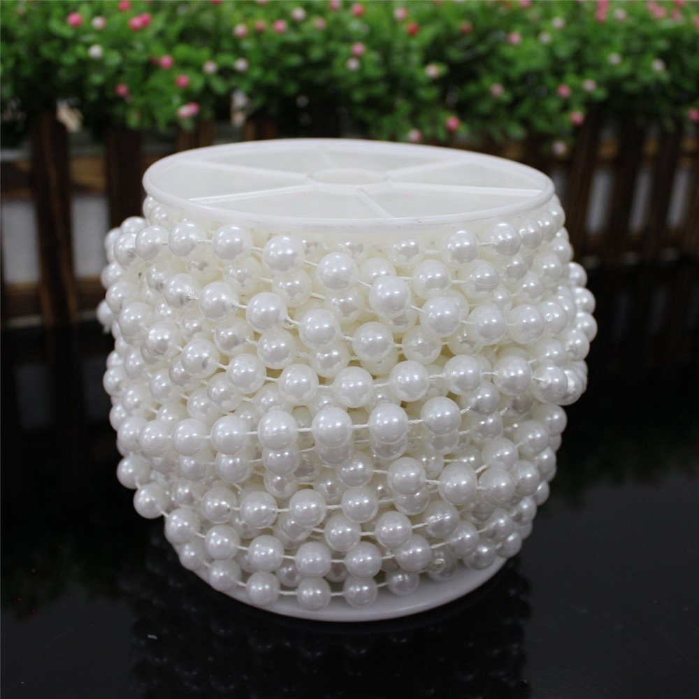 10m/Roll 8mm Artificial Pearl Garland Beads String Curtain Hanging Bead Curtain Wedding Club Party D